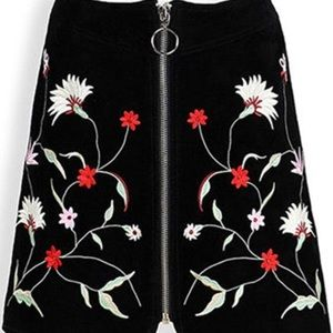 NWOT Zara Suede Embroidered Mini Skirt